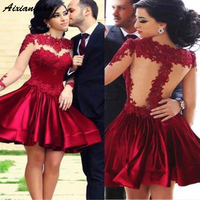 Short Homecoming Dresses 2019 Long Sleeves Lace Appliques Round Neck Ruffles Mini Skirt Junior Graduation Dress Cocktail Gowns