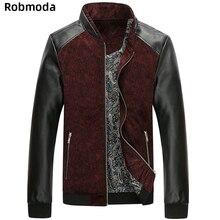 Новинка, мужские Куртки из искусственной кожи в стиле пэчворк, осенне-зимняя модная куртка, пальто, мужская верхняя одежда с воротником-стойкой, приталенная одежда для мужчин