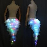 Women LED Ballet Skirt Dance Clothes Ballet Fashion Sexy Black Swan Mesh LED Costume Dance Skirt