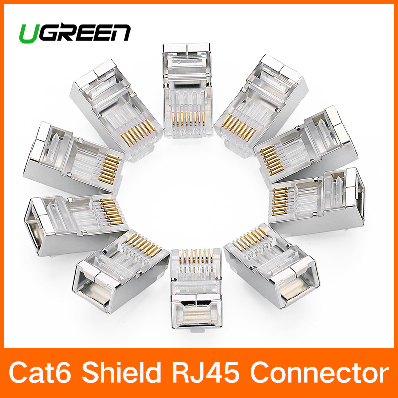 Ugreen Cat6 RJ45 Connector 8P8C Modular Ethernet Cable Head Plug Gold-plated Cat 6 Crimp Network RJ 45 Connector Cat6 imc hot 10 pcs rj45 8p8c double ports female plug telephone connector