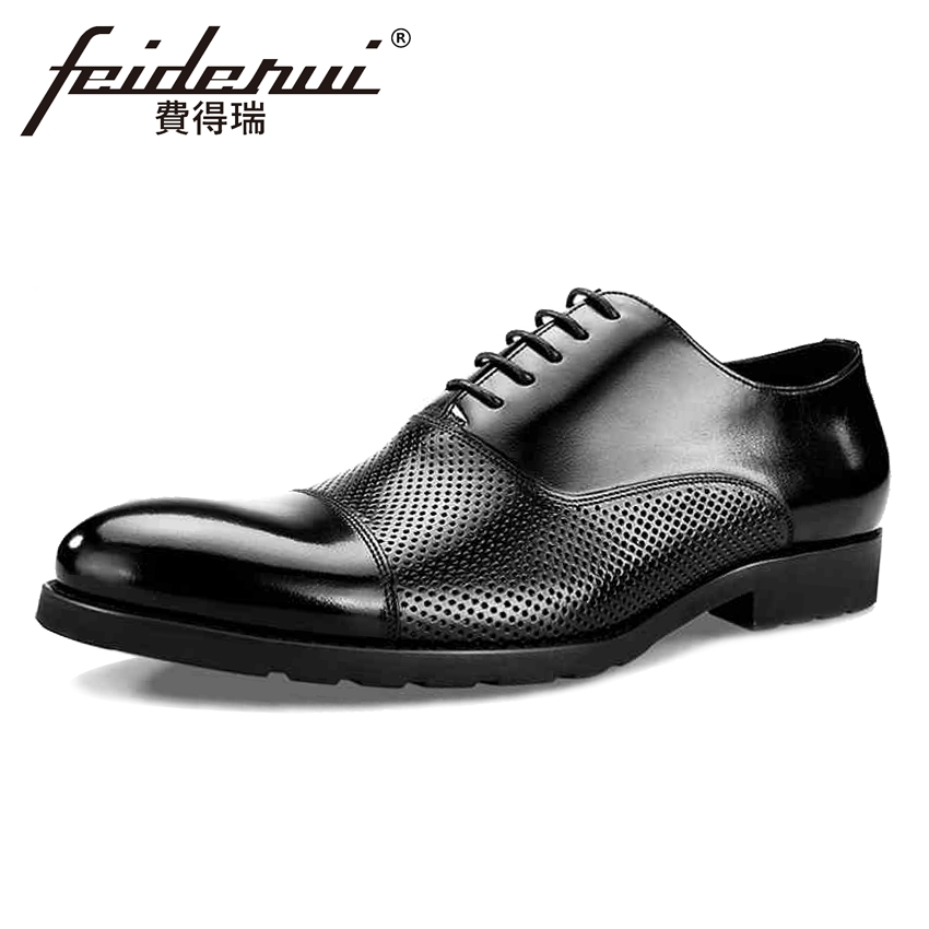Summer Style Genuine Leather Men's Breathable Oxfords Formal Dress Round Toe Lace-up Male Flats Designer Shoes For Man BQL36 mycolen men leather shoes breathable lace up flats patent leather male dress shoes blue oxfords shoes zapatos de boda hombre