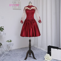 HVVLF Burgundy Cocktail Dresses 2017 A-line Long Sleeves Satin Appliques Lace See Through Short Mini Homecoming Dresses