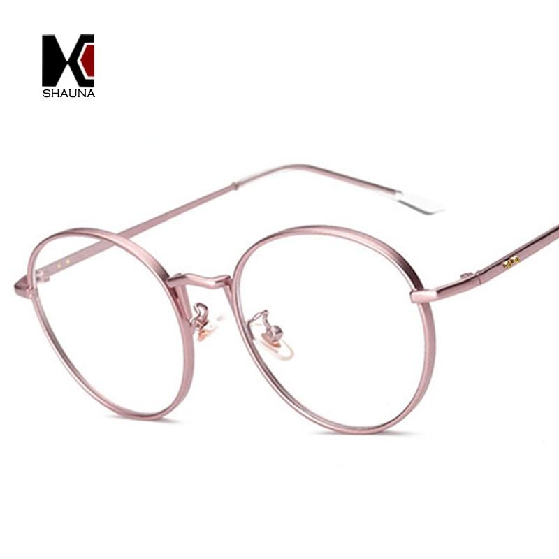 SHAUNA Retro Metal Frame Women Round Frame Original Clear Lens Glasses Fashion Men Golden Nails Decoration Eyewear UV400