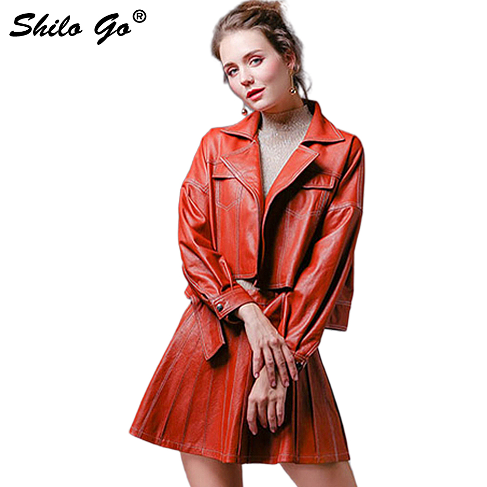SHILO GO Leather Sets Womens Autumn Fashion Sheepskin Genuine Leather Suit Laple Concise Loose Leather Jacket High Waist Skirt