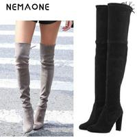 Women Stretch Faux Suede Thigh High Boots Sexy Fashion Over The Knee Boots High Heels Woman
