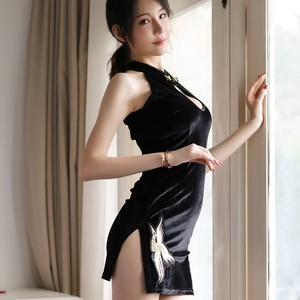Image 3 - women Embroidered Retro Cheongsam Sexy Temptation Underwear Babydoll Lingerie Nightwear Dress Black Velvet Sexy Costumes