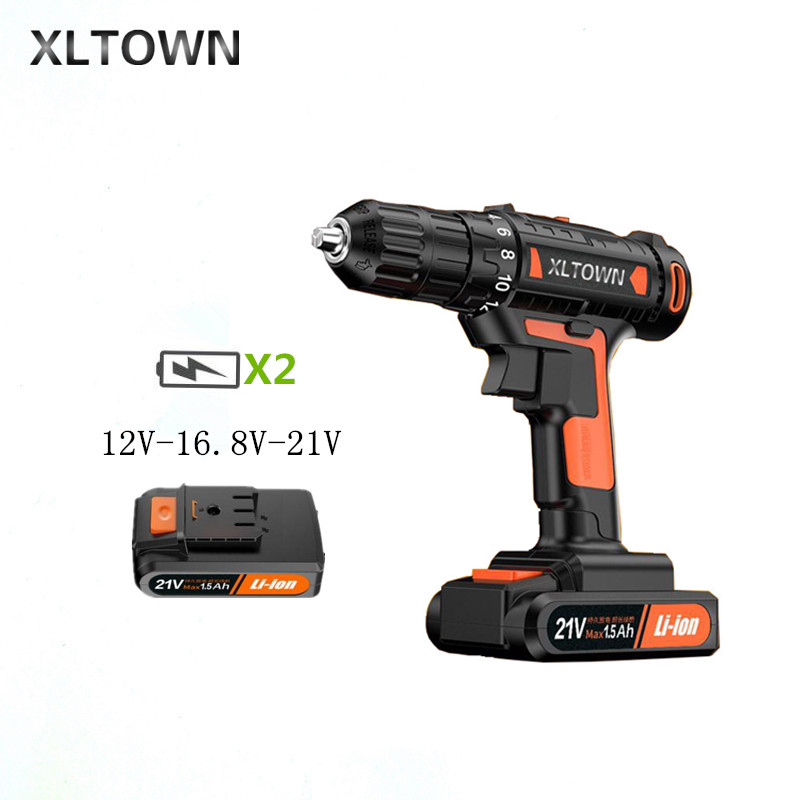 XLTOWN 12/16.8/21v electric screwdriver With 2 battery rechargeable lithium battery electric screwdriver home power tools drill xltown new 21v rechargeable lithium battery electric screwdriver with 2 battery high quality electric drill tools free shipping