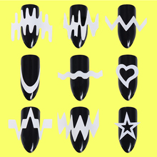 6 Sheets French Edge Tip Guides Set White Heart Star Nail Art  Wave Line Sticker DIY Styling Tools Nail Decoration Water Sticker