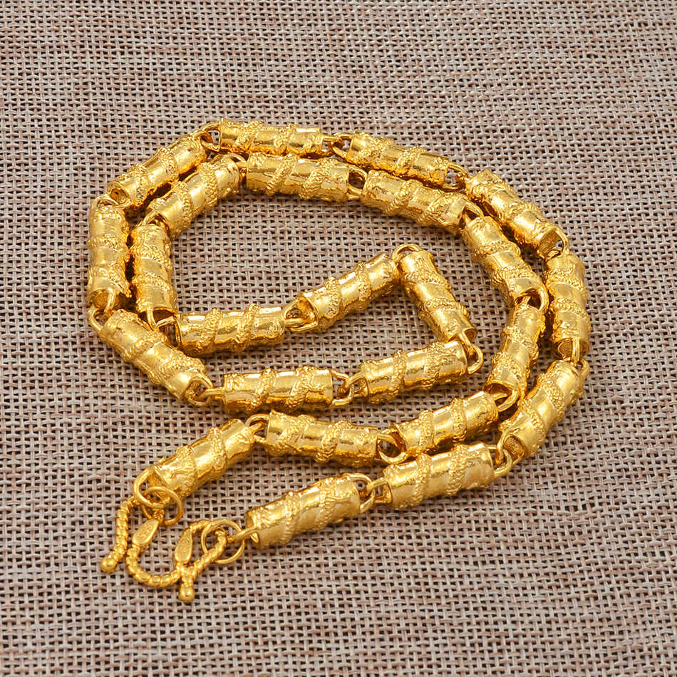 Anniyo smok naszyjnik gruby łańcuch dla mężczyzn, złoty kolor biżuteria ojca mąż urodziny prezenty afryki mężczyzna biżuteria #006825