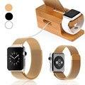 Para el adaptador de apple watch tool + correa de muñeca de acero manetic milanese o bambú de madera estación de carga del muelle horquilla del sostenedor del soporte