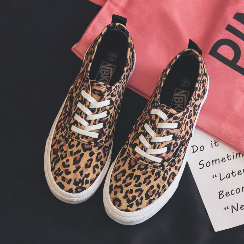 Women Shoe Leopard Print Female Casual Shoes Flat Heel Lace Up 2018 New Fashion Footwear Tiger Zapatillas Deportivas Mujer 35-40 стоимость