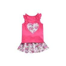 INS de la muchacha del verano 2 piezas conjunto Causal chaleco y falda bebé  dibujos animados amor flor patrón trajes de algodón . cf219643f3ad