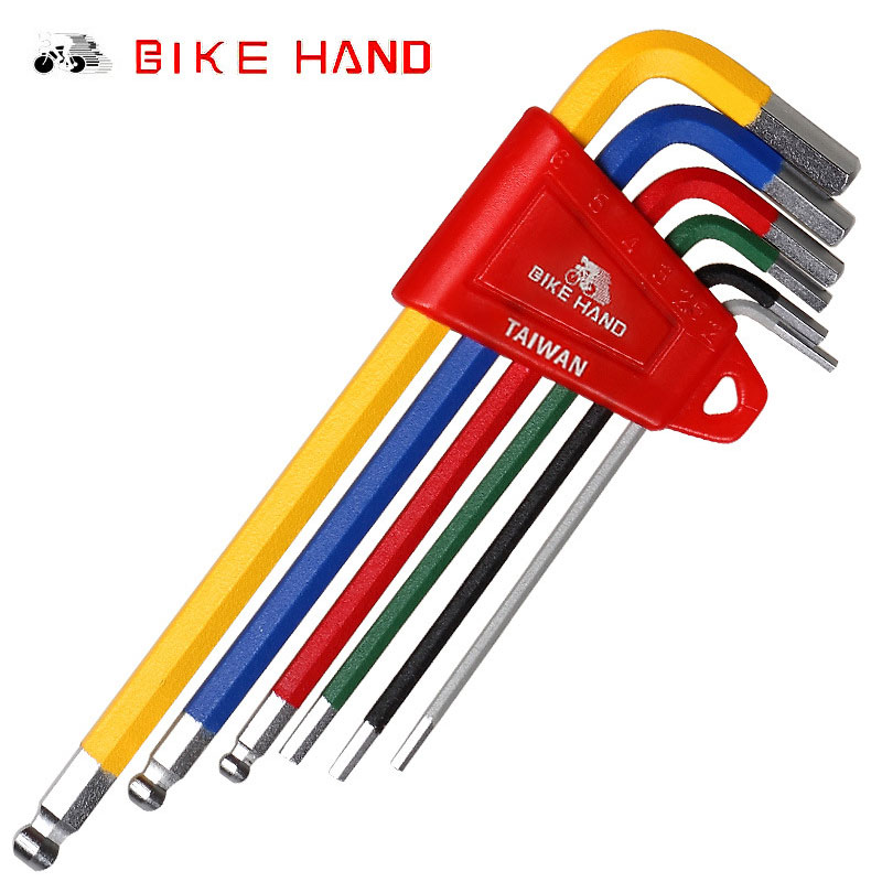 BIKEHAND Bicycle Hex Key Set MTB Road Bike Repair Tool Kit Service Wrench Colorful 6 PCS Color Flat Ball Opening 2/2.5/3/4/5/6mm