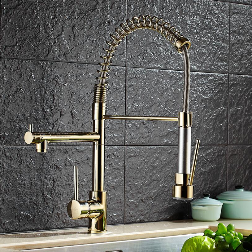 Luxury Black Oil /Nickel/Chrome Kitchen Faucet Tap Two Swivel Spouts Extensible Spring Mixer Pull Out Down Kitchen Sink Faucet