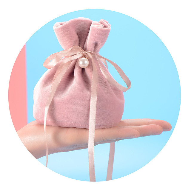 10x13.5cm Round Shaped Drawstring Gifts Bags Wedding Christmas Party Favors Packing Bag Velvet Candy Cookies Jewelry Pouches