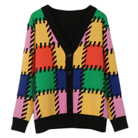 GRUIICEEN geometric pattern long sleeve autumn winter cardigan coat knitting sweater cardigan GY2018333