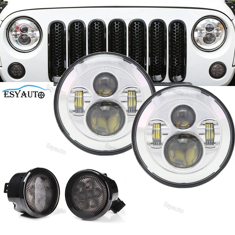 h4 7 inch Led 45W headlight+Smoke Front Turn Signal light Auto Led Lighting Driving Offroad Lamp Front Bumper Lighting for Jeep