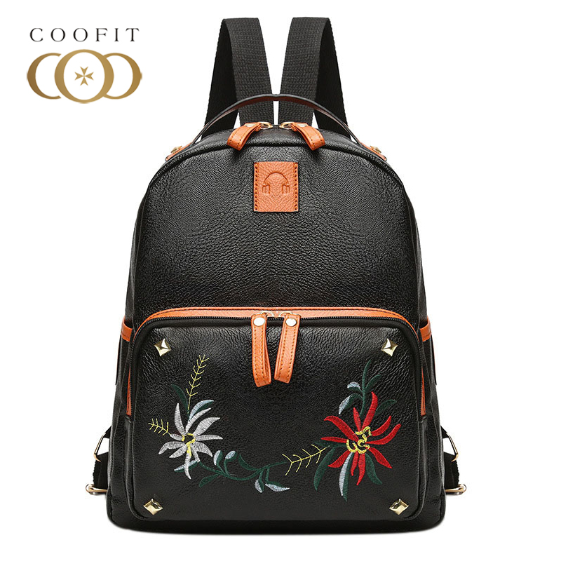 Coofit Vintage Flowers Embroidery Mini Backpack For Women Female Casual Solid Rivet PU Leather Small Bagpack