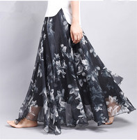 Elegant Fancy Flower Print Long Skirt Women Fashion Elastic Waist Ultra-long Big Swing Floral Chiffon Maxi Skirts Long Saia
