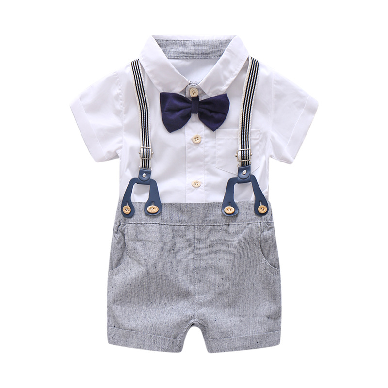 Newborn Baby Boy Summer Formal Clothes Set Bow Wedding Birthday Boys Overall Suit White Romper Shirt Toddler Gentleman Outfit