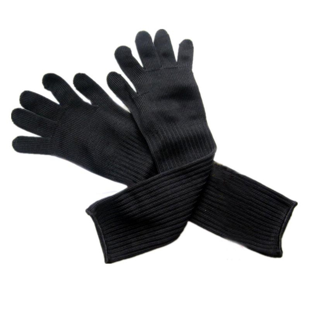 Black gardening gloves - 1 Pair Long Kevlar Gloves With Stainless Steel Wire Anti Cutting Breathable Working Gloves Safety