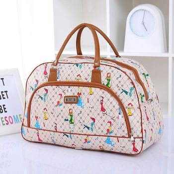 Women Travel Bags 2018 Fashion Pu Leather Large Capacity Waterproof Print Luggage Duffle Bag Casual Travel Bags PT1083 2