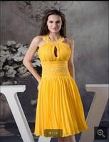 Новый дизайн, 2017, желтое шифоновое короткое платье на выпускной вышитый бисером халтер, вырез, миниатюрные Свадебные платья для девочек, хит