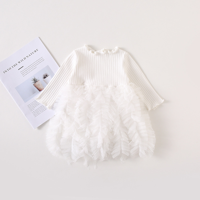 2019 Cotton Long Sleeve Knitted Kids Dresses For Girls Toddler Clothing Baby Girl Drees Tulle Patchwork Grey Pink White Spring 16