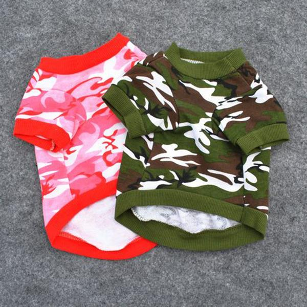 Hot Sales Pet Dog Cat T Shirt Clothes Dog Vests Cotton Apparel Puppy Camouflage Soft Coat Hot LM76
