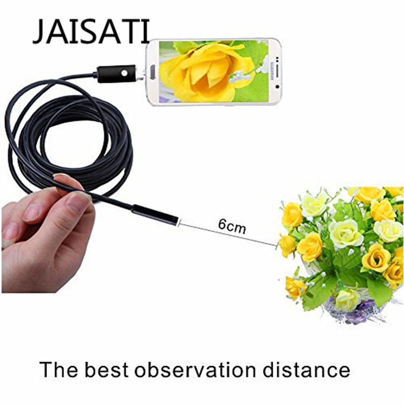 JAISATI 2in1 Endoscope Android & PC USB Inspection Camera 7MM 0.3MP 720P HD Borescope Video Cam 6 Adjustable LED Night Vision 7mm lens mini usb android endoscope camera waterproof snake tube 2m inspection micro usb borescope android phone endoskop camera