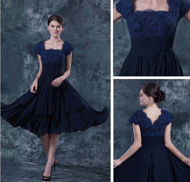 Simple Elegant Tea Length Chiffon Cap Sleeve Wedding: 2015 Lace Cap Sleeve Chiffon Short Mother Of The Bride