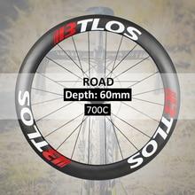 700c wheelset carbon road bike wheels 55mm deep clincher 26mm wide U shape tubeless compatible  - WRC-60