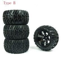 4 pièces HSP camion roue pneus D128mm caoutchouc pneu 128*65mm roues en 12mm adaptateur hexagonal pour 1/10 94111 94188 tout terrain voitures RC