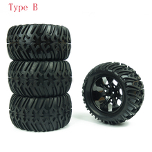 4PCS HSP Truck Wheel Tires D128mm Rubber Tire 128*65mm Wheels in 12mm Hex Adapter for 1/10 94111 94188 Off road RC Cars