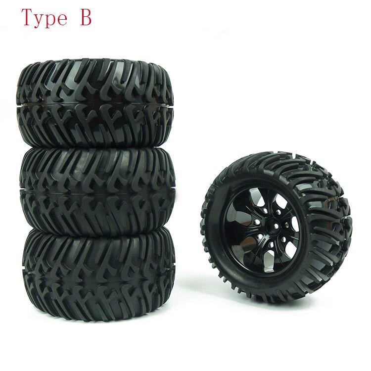 4 x RC1:10 On Road Car Single Oriented Rubber Tyre Gold Alloy 10-Spoke Wheel Rim