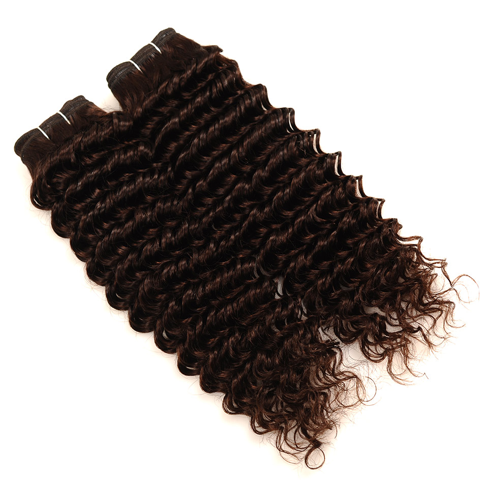 Pinshair Deep Wave Indian Hair 3 Bundles With Closure Brown Color 4 Non Remy 100 Thick Human Hair Weft Hair Bundles With Closure (11)