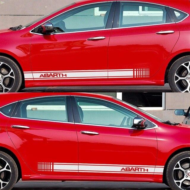 2 Pcs Aanpasbare Voor Abarth Deur Stickers Decal Auto-styling Voor Fiat 500 Grande Punto Bravo Doblo Panda Ducato Auto Accessoires