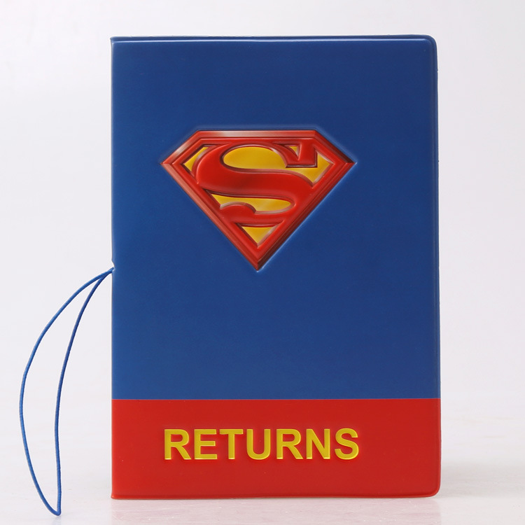 PU Cartoon travel accessories passport Cover with size 5.5''*3.8''-superman