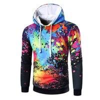High Quality Slim Fit Sportswear Sweatshirt Men Printed Inkjet Hoodies Sweatshirt 3 Colors M 3XL