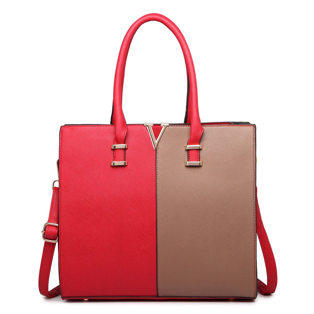 ФОТО Lady style women  PU leather casual tote handbags split front design medium tote bags crossbody bags patchwork and solid bag
