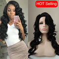 20inch Womens wig Body wave long curly wavy hair Black wig natural hair side bang Perurque synthetic women Queee Hair Products
