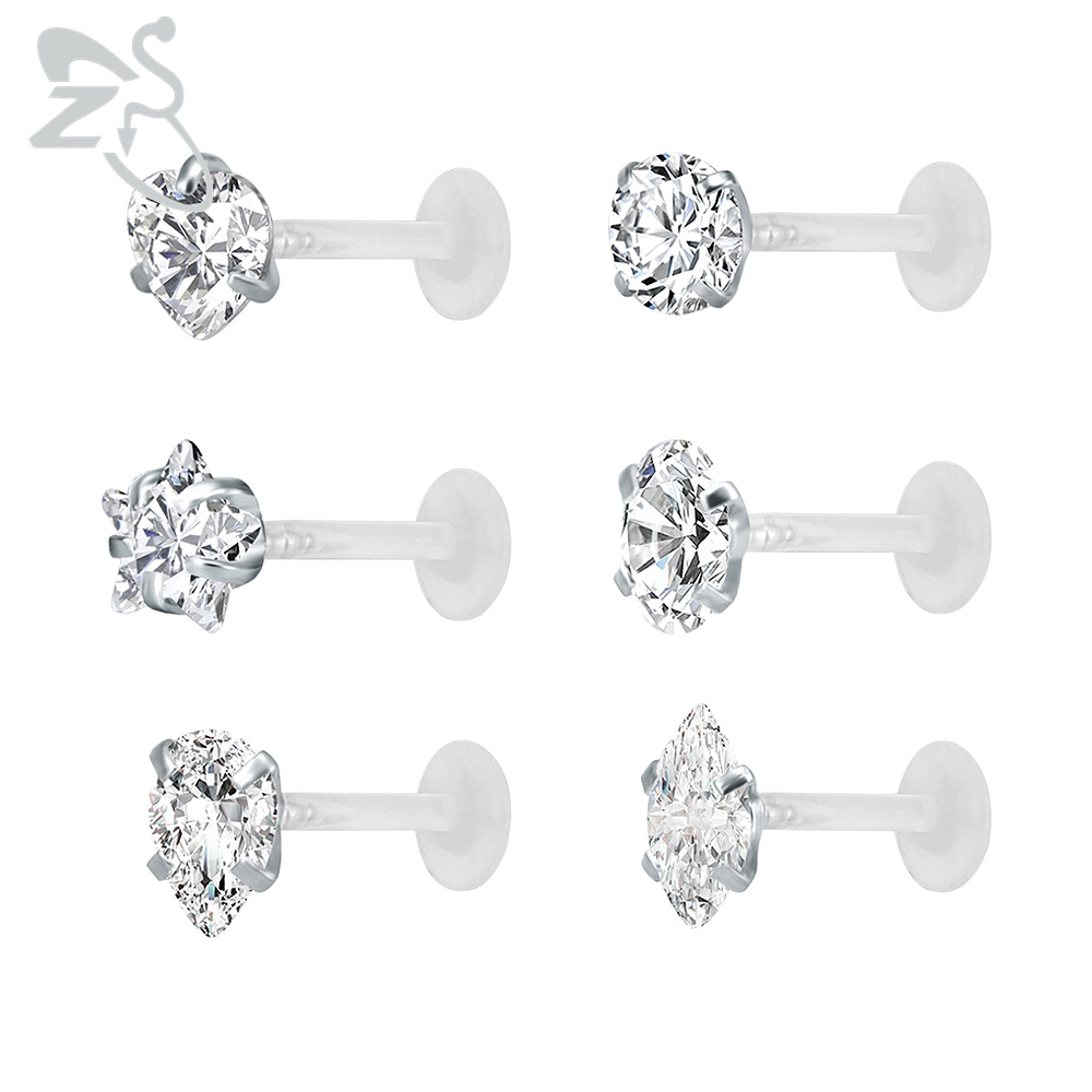 Clear Crystal Earrings Silicon Backs Prongs Cz Zirconia Studs