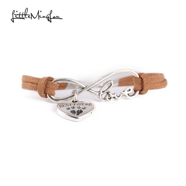 Infinity love dog cat pet paw footprint best friend bracelet heart charm men wrap bracelets & bangles for women jewelry