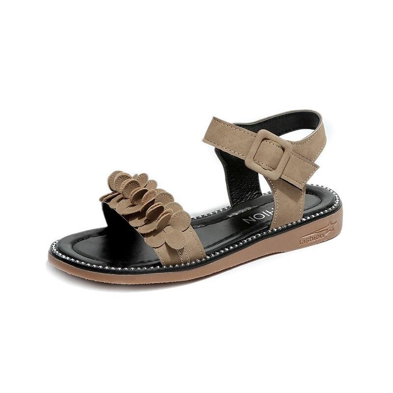 Для женщин замшевые Босоножки с цветочным узором модные женские туфли Сандалии на плоской подошве гриль Римский гладиатор обувь дамские са...
