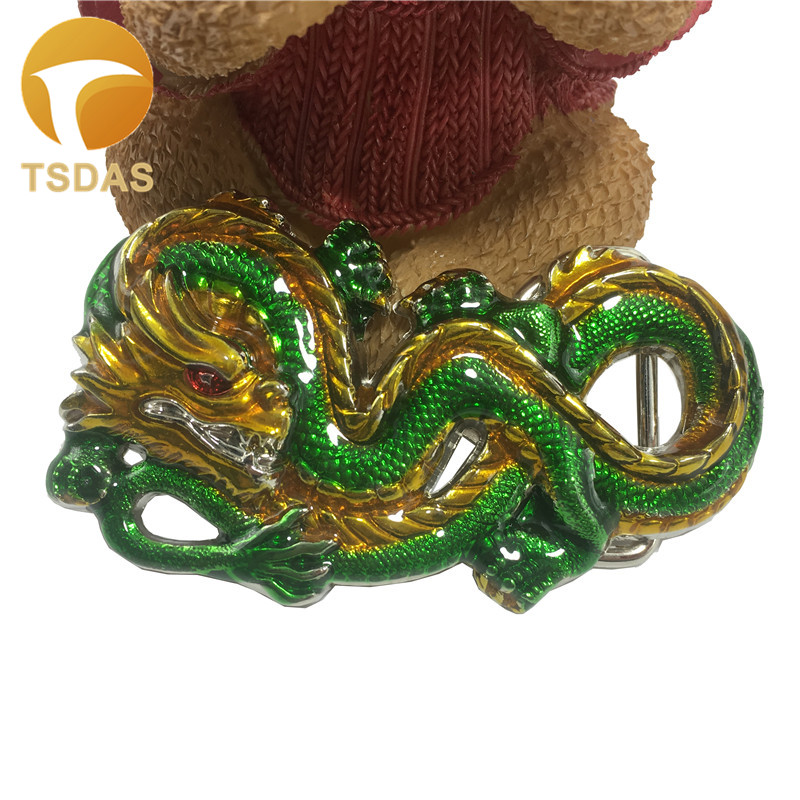 Luxury Dragon Belt Buckle With Green Color 102 58mm Metal Animal Belt Buckle For 4cm Wide