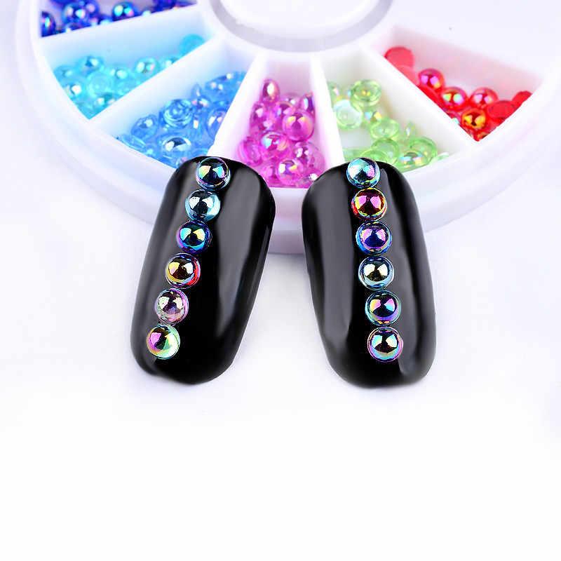1Pcs Mix Kleuren Diy Nail Art Wiel Tips Crystal Glitter Rhinestone 3D Nail Art Decoratie Kleurrijke Glanzende Ronde Ultradunne pailletten