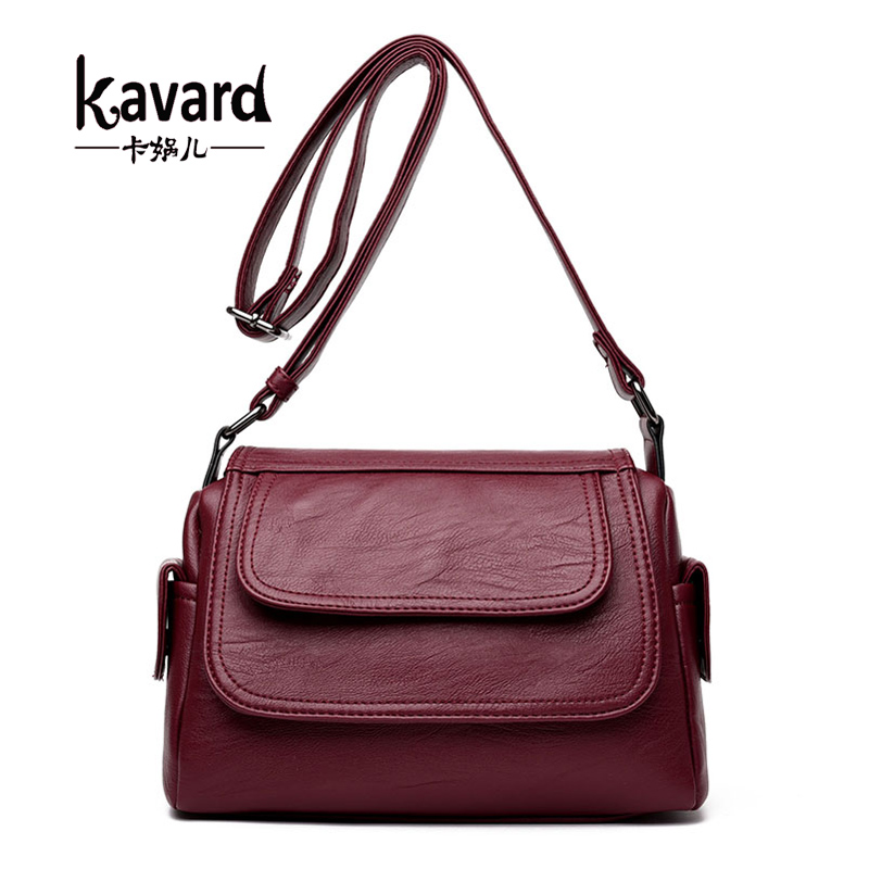 Kavard Women Messenger Bags High Quality Leather Handbags Small Saddle Purses Bags Handbags Women Famous Brands