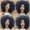 150 Densidad Natural Corto Afro Rizado Rizado Pelucas Del Cordón Del Pelo Humano delantero Brasileño de la Virgen Peluca de Pelo Corto Rizado Rizado Peluca Del Frente Del Cordón