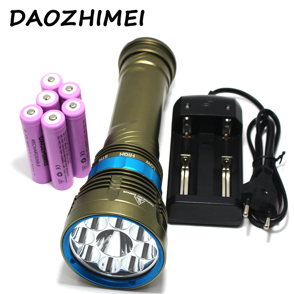 100% Original 18000 Lumen Diving Flashlight Underwater 100M Waterproof Torch 9 x XM-L2 LED Flashlight + battery+charger new power 18000 lumen underwater flashlight 7 x xm l2 led scuba diving flashlight diver torch light have 3x18650 and charger