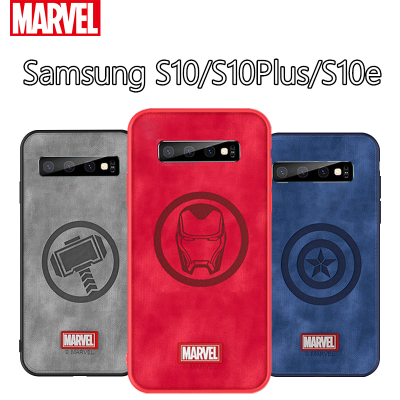 Original Coque <font><b>Marvel</b></font> Thor <font><b>Phone</b></font> <font><b>Case</b></font> For Samsung Galaxy S10e Captain America Fabric Shockproof Back Cover For Galaxy S10 Plus image